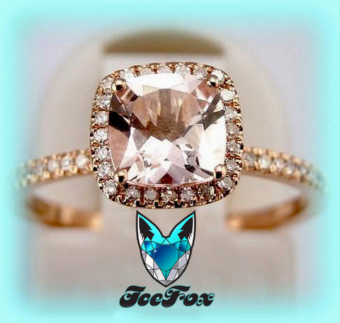Morganite Engagement Ring cushion cut 10K Rose Gold, Halo - The IceFox