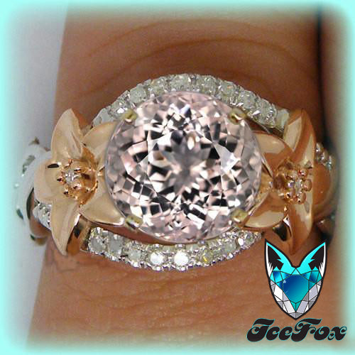 Morganite - Floral Engagement Ring 7.5mm Round Morganite Diamond Floral Halo Setting 14K Rose and White Gold - The IceFox