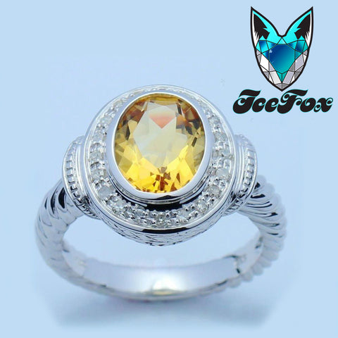 Citrine - 3ct Oval Yellow Citrine in a 14K White Gold Rope Twist Diamond Halo Setting - In The IceBox