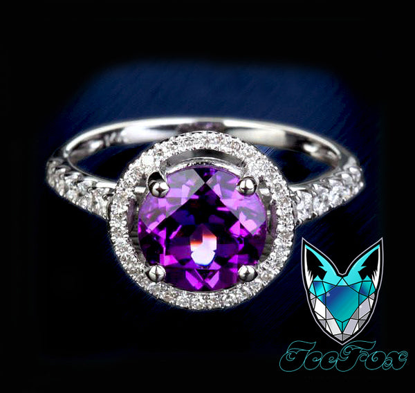 Amethyst Engagement Ring 2.3ct Round  in a 14k White Gold Diamond Single Halo setting