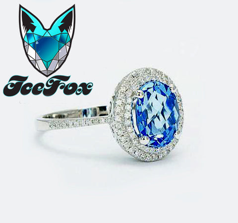 Topaz Engagement Ring - Swiss Blue Topaz Engagement Ring 2.5ct Oval in a 14k White Gold Double Diamond Halo Setting - In The IceBox