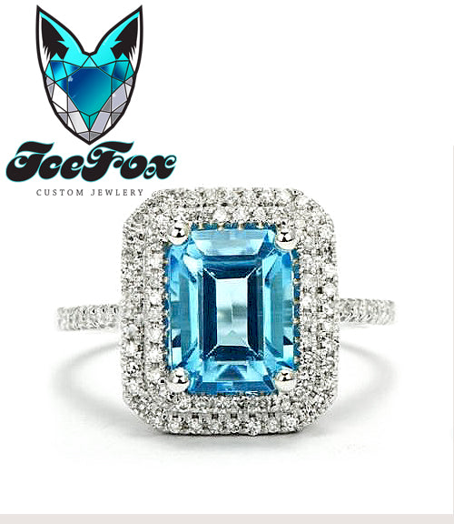 Topaz Engagement Ring - Swiss Blue Topaz 3.5ct Emerald Cut  14k White Gold Double Diamond Halo Setting - The IceFox