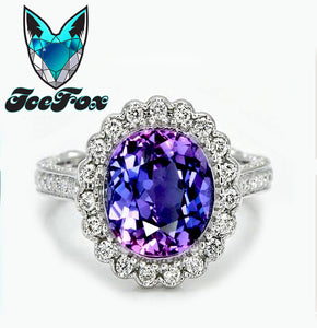 Sapphire Engagement Ring Ultra Violet Sapphire set in a 14k White gold diamond halo with side diamond detail work - The IceFox