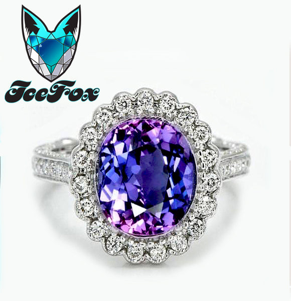 Sapphire Engagement Ring Ultra Violet Sapphire set in a 14k White gold diamond halo with side diamond detail work - In The IceBox