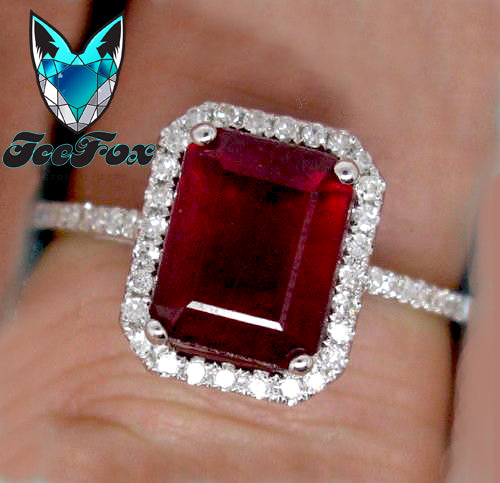 Ruby Engagement Ring 3.5ct Emerald cut cultured ruby set in an 14k White gold single diamond halo setting