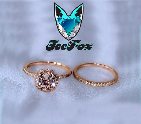 Morganite Engagement Ring Matching Diamond Band 1.15ct Round 14k Rose Gold Diamond Halo setting engagement wedding set - The IceFox