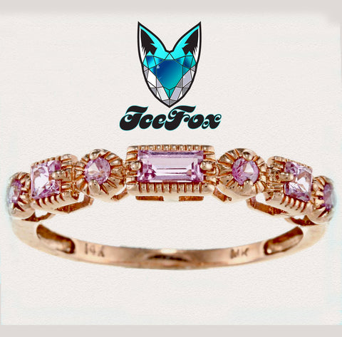 Sapphire - Pink Sapphire and 14k Rose Gold Milgrain Wedding Anniversary Eternity Band