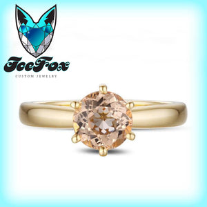Morganite Engagement Ring 1.8ct Round Morganite Solitaire in 14k Yellow Gold Setting - In The IceBox