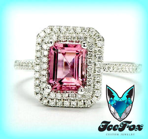 Tourmaline Engagement Ring 2ct Emerald Cut Tourmaline set in a 14k White gold diamond double halo setting - In The IceBox