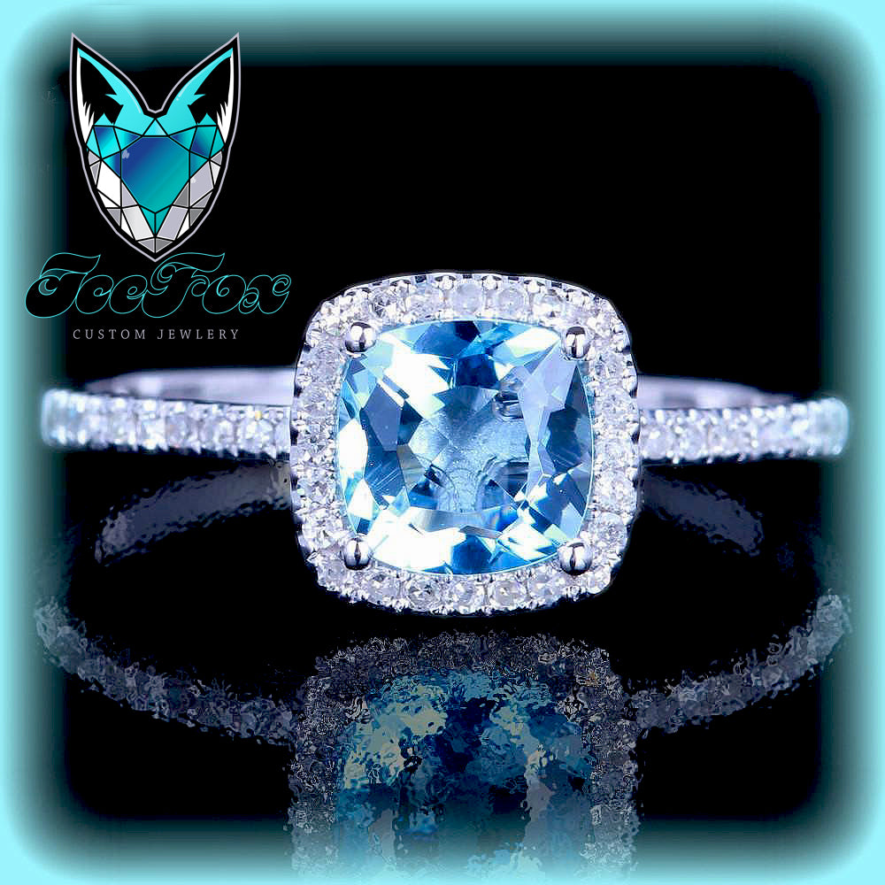 Aquamarine Engagement Ring 7mm Cushion Cut in a  Diamond Halo Setting 14K Wwhite Gold - In The IceBox
