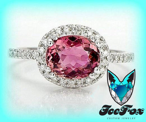 Tourmaline Engagement Ring 1.5ct side set Oval set in a 14k White gold diamond halo setting - In The IceBox