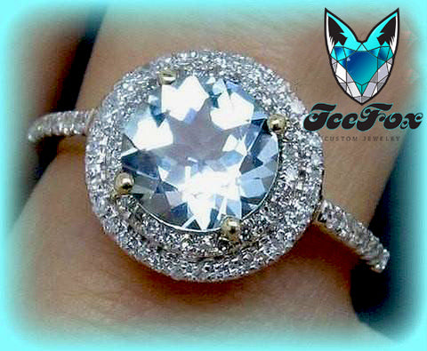 Aquamarine Engagement Ring in a  Diamond Halo Setting 4K Yellow Gold