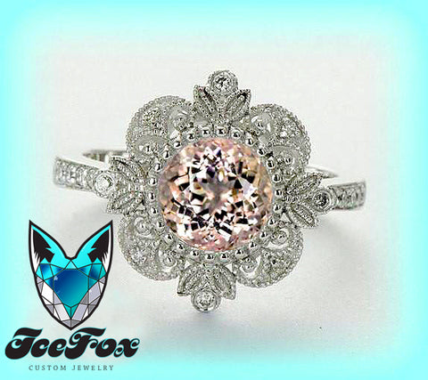 Morganite Engagement Ring or Pink Sapphire 14K White gold Diamond Halo setting - The IceFox