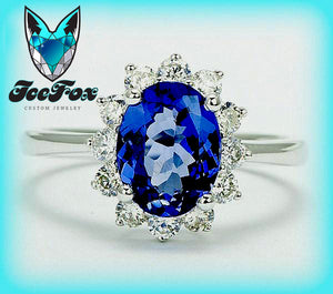 Tanzanite Engagement Ring - Oval Tanzanite in a 14K White Gold Diamond Halo Setting - The IceFox