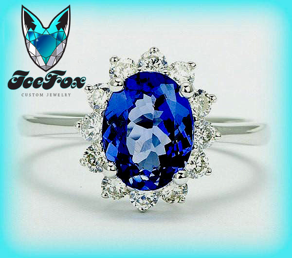Tanzanite Engagement Ring - Oval Tanzanite in a 14K White Gold Diamond Halo Setting - In The IceBox