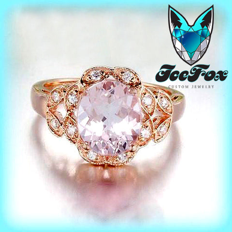 Morganite Engagement Ring 7mm x 9mm Oval Morganite or Hot Pink Sapphire  Diamond Leaf Halo Setting 14K Rose Gold - The IceFox