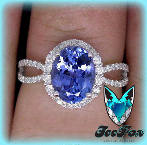 Tanzanite Engagement Ring- Oval Cut in a 14K White Gold Diamond Halo Split Shank Setting - In The IceBox