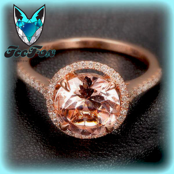 Morganite Engagement Ring 2.3ct Round in a 14k Rose Gold Diamond Halo setting - In The IceBox