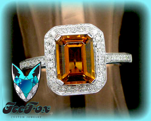 Tourmaline Engagement Ring. 2ct Emerald Cut Whiskey Tourmaline in a 14k White Gold Diamond Halo Setting - In The IceBox