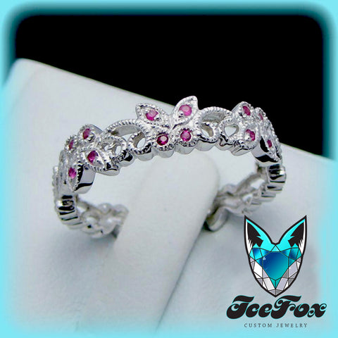 Vintage Floral Butterfly Milgrain 10k White Gold Ruby Wedding Band, Anniversary Band, Eternity Band - In The IceBox