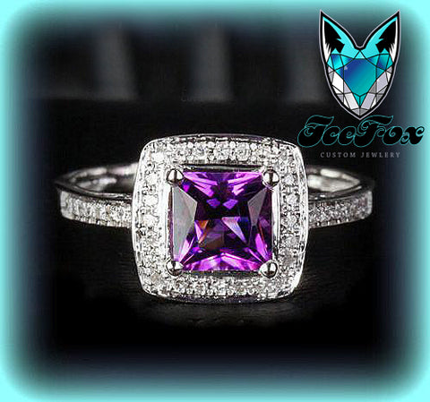 Amethyst Engagement Ring 1.8ct Princess Cut  in a 14k White Gold Diamond Single Halo setting - In The IceBox