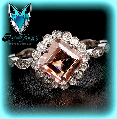 Morganite Engagement Ring 6mm Asscher Cut Morganite in Bezel set Diamond Halo Setting 14K White Gold - The IceFox