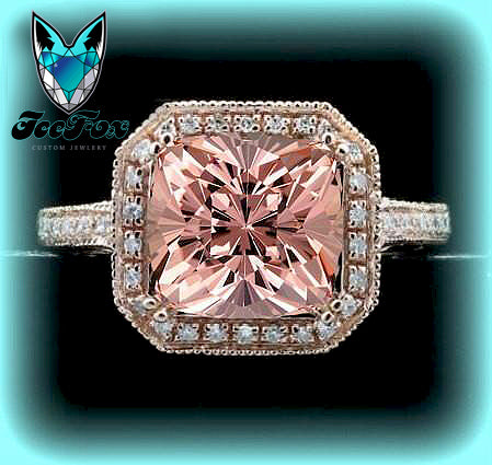 Morganite Engagement Ring Cushion Cut 14K Rose Gold Diamond Halo - In The IceBox