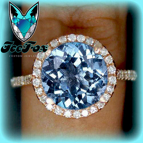 Topaz Engagement Ring 3ct Swiss Blue, London Blue or White in a 14k Rose Gold Diamond Halo Setting - In The IceBox