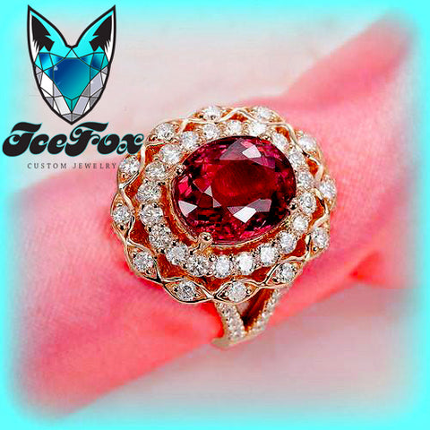 Tourmaline Engagement Ring 2.5ct Cerise Tourmaline Fancy Diamond Double Halo - In The IceBox