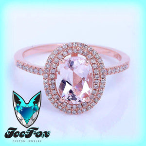 Morganite Engagement Ring 1.3ct Oval Morganite in 14k Rose Gold Double Diamond Halo Setting - The IceFox