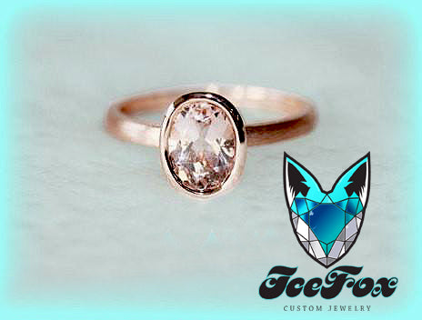 Morganite Solitaire Ring 1.4ct Oval Bezel Set Morganite Solitaire in 14k Matte Rose Gold Setting - In The IceBox