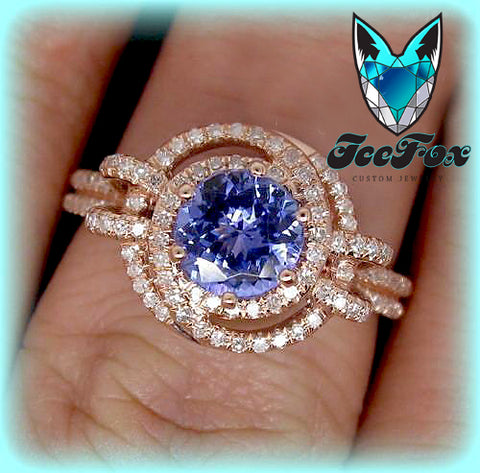 Tanzanite Engagement Ring 1.45ct 6.5mm Round Cut Tanzanite in a Diamond Knot Halo Double Shank setting - In The IceBox