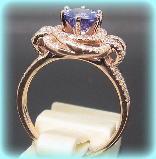 Tanzanite Engagement Ring 1.45ct 6.5mm Round Cut Tanzanite in a Diamond Knot Halo Double Shank setting