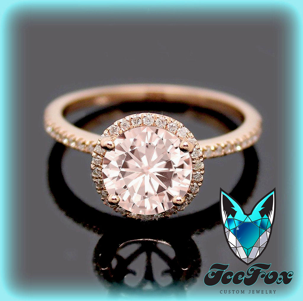 Pink Moissanite Engagement Ring 1 5ct Round Peach Pink Moissanite In A The Icefox