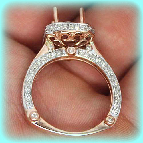 Moissanite - Pink Moissanite Ring 1.5ct Round Pink Moissanite in 14k White and Rose Diamond Halo Setting