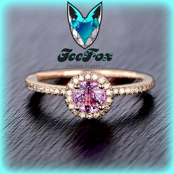 Sapphire - Pink Sapphire Engagement Ring 5mm, .75ct Round Raspberry Pink Sapphire set in a 14k Rose Gold Diamond Halo Setting - In The IceBox