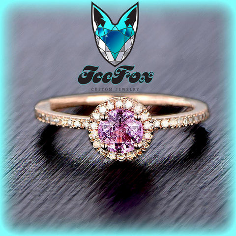 Sapphire - Pink Sapphire Engagement Ring 5mm, .75ct Round Raspberry Pink Sapphire set in a 14k Rose Gold Diamond Halo Setting