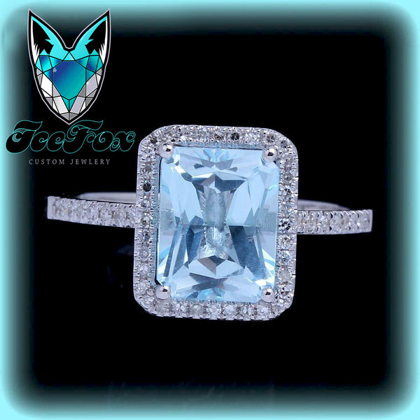 Aquamarine - 8x6mm Emerald Cut Aquamarine in a 14k White Gold Diamond Single Rectangle Halo setting - The IceFox
