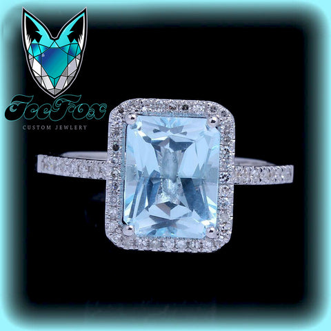 Aquamarine - 8x6mm Emerald Cut Aquamarine in a 14k White Gold Diamond Single Rectangle Halo setting