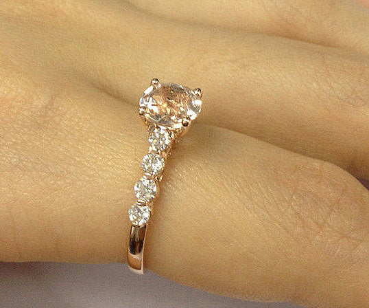 Morganite Engagement Ring 1.25 Round Morganite Solitaire in 14k Rose Gold Diamond Scrollwork Setting