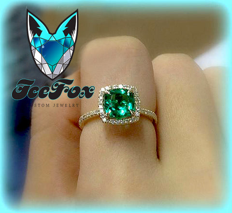 Emerald  Engagement Ring 7mm Cushion Cut Cultured Emerald set in a 14k Yellow gold diamond halo setting