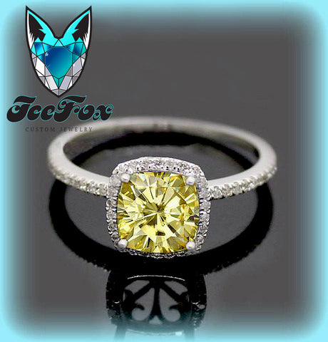 Moissanite - Canary Yellow Engagement Ring 1.4ct Cushion Cut Yellow  Moissanite in a 14k White Gold Diamond Milgrain Scrollwork Halo Setting