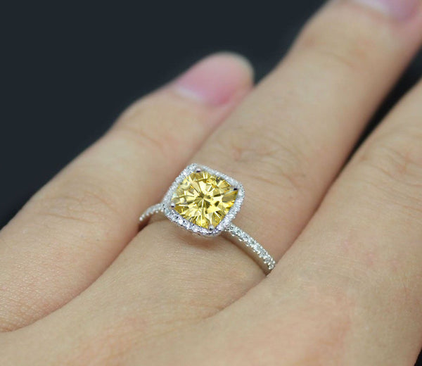 Moissanite - Canary Yellow Engagement Ring 1.4ct Cushion Cut Yellow  Moissanite in a 14k White Gold Diamond Milgrain Scrollwork Halo Setting - In The IceBox