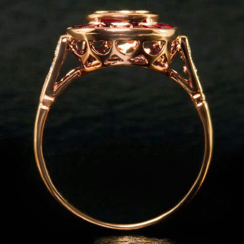 Moissanite Ruby Engagement Ring 1ct Round Moissanite set in an 14k Rose Gold Ruby Halo Setting - The IceFox