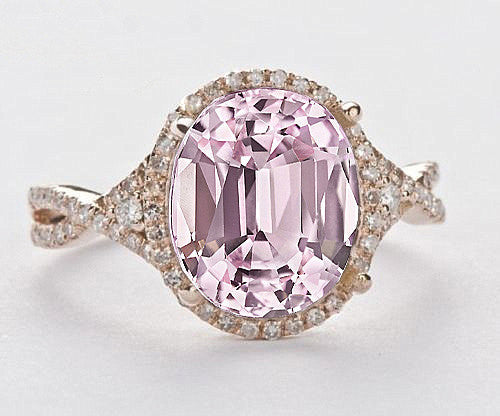 Sapphire Engagement Ring 2.9ct  7 x 9mm Cultured Pink Oval Sapphire set in a 14k Rose Gold Giamond Halo Twist Shank Setting - In The IceBox
