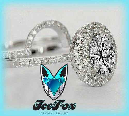 Moissanite Engagement Ring Matching Band 5 x 7mm Oval in a 14K White Gold Diamond Double Halo Setting with Matching Band - The IceFox