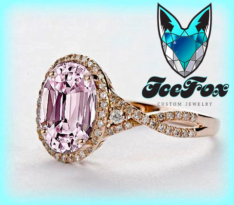 Sapphire Engagement Ring 2.9ct  7 x 9mm Cultured Pink Oval Sapphire set in a 14k Rose Gold Giamond Halo Twist Shank Setting