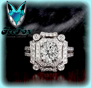 Moissanite Engagement Ring 6 x 7mm 1.5ct Oval in a 14K White Gold Diamond Art Deco Halo Setting - In The IceBox