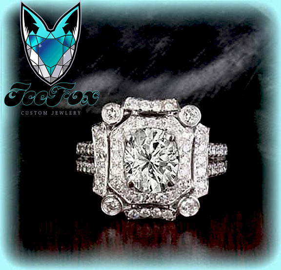 Moissanite Engagement Ring 6 x 7mm 1.5ct Oval in a 14K White Gold Diamond Art Deco Halo Setting - The IceFox