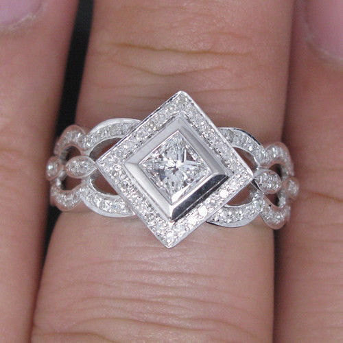 Moissanite Engagement Ring 4mm .45ct Princess Cut in a 14K White Gold Diamond Art Deco Halo Setting - In The IceBox